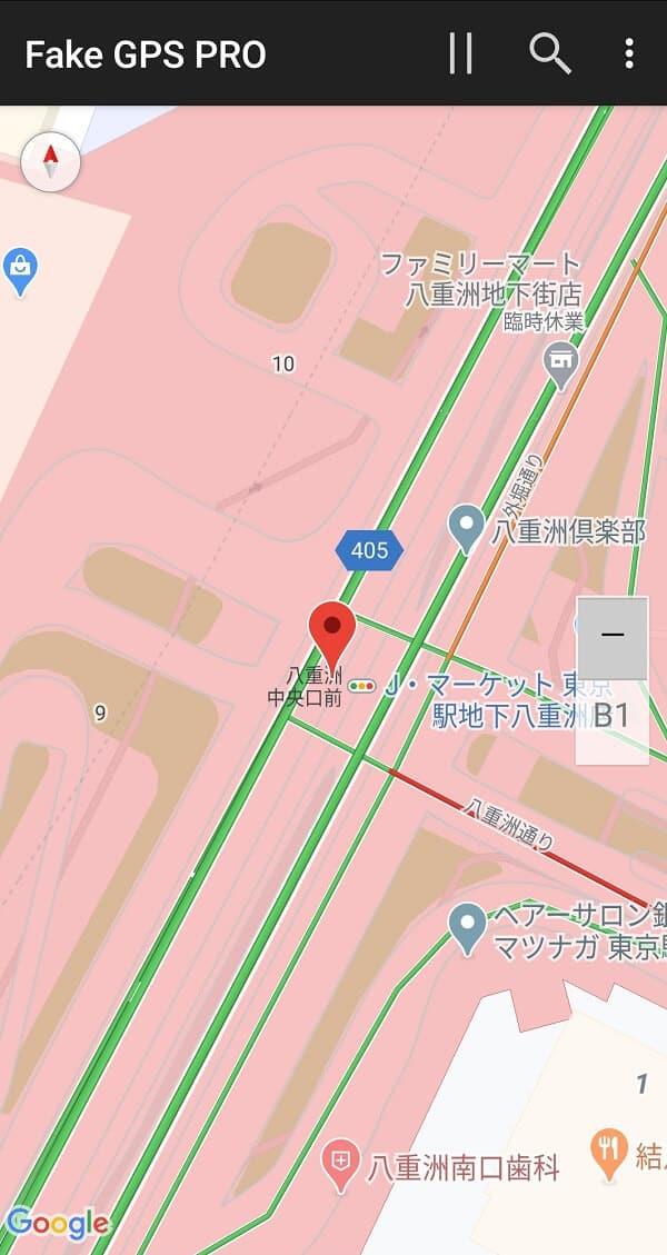 Fake GPS 偽装停止ボタン